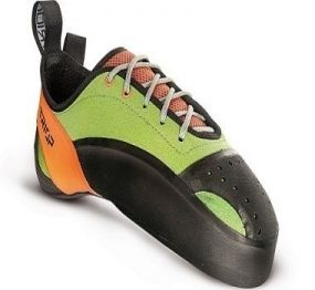 TRIOP GENUS New this year technical model is Genus that is built on completely new last. Highly asymmetric and curved shoe is great choice for a climber searching for maximal performance. Perfect shape and construction support when hanging in difficult routes even on the tiniest footholds and ledges. It is great companion for bouldering with Vibram XS Grip sole rubber.