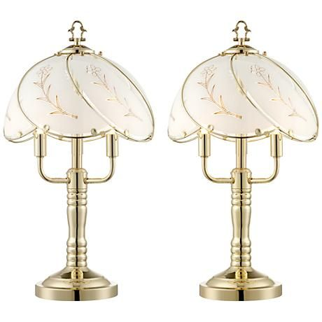 etched flower 3light touch accent table lamp set of 2