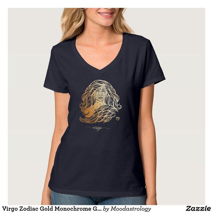 Virgo Zodiac Gold Monochrome Graphic T-Shirt