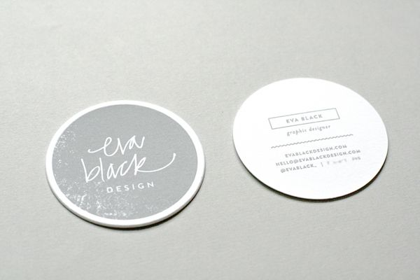 Business Cards | Eva Black Design the cards are a 2.25″ circle, letterpressed with Pantone Cool Grey 6U, by Mama's Sauce.