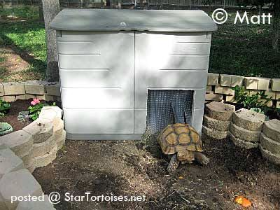 Keep your outdoor tortoise warm in cool weather! #DIY Heated Tortoise House - PetDIYs.com