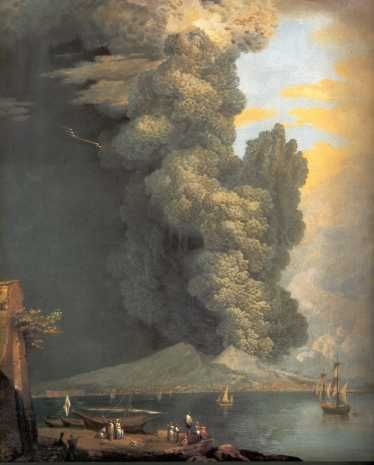 saverio della gatta  (1758-1828) - eruption du vésuve 1794, gouache on paper.