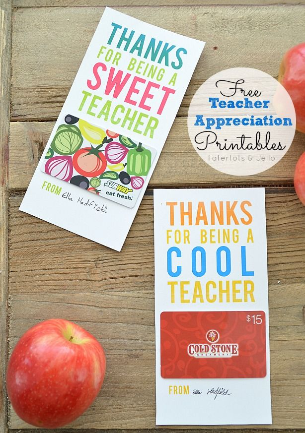 Free Printable Teacher Appreciation Gift Card Holders by Tatertots and Jello for Skip to My Lou!! #DIY #giftideas
