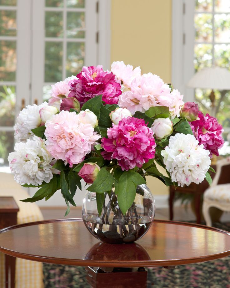 Artificial floral arrangements for dining table my web value deluxe peony silk flower centerpiece mightylinksfo