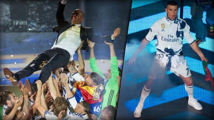 Die Königlichen feiern gemeinsam mit den Fans die historische Verteidigung der Champions League im Santiago Bernabeu.
