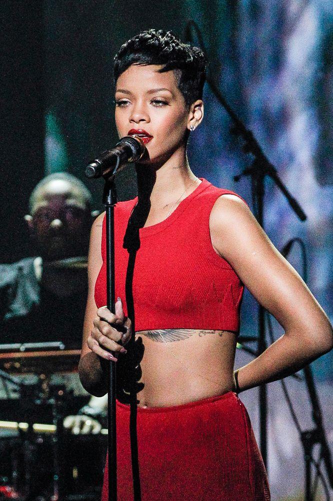 Singer Rihanna performs during 'La Chanson De L'Annee 2012' Show Recording at Palais des Sports on December 10, 2012 in Paris, France.