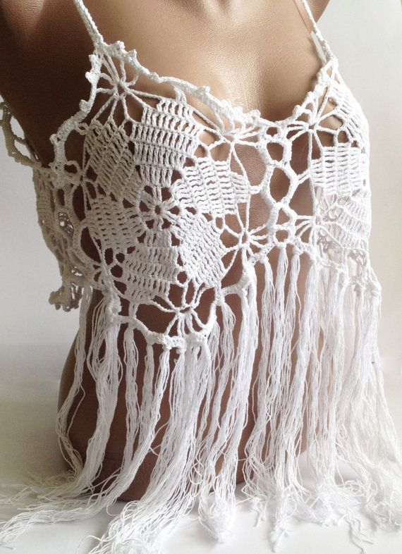 Sexy hippie style #crochet white halter crop top. Crochet and fringes are big this summer and would be perfect to wear to the parties, beach and festivals. This is Beautiful... #scarf