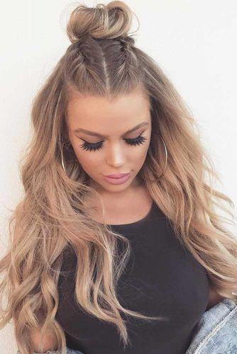 Haarknoten mit halben Haaren für langes Haar picture1 # – Frisuren