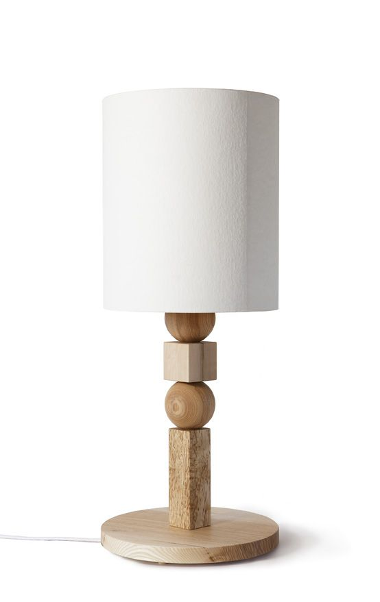 STORIA table lamp, different wood species and wood pulp, design Kristofer Jonsson, Ingrid Backman and Andreas Sture / WHITE Arkitekter
