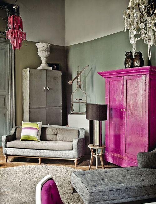 gray, white and fuschia color combination in room