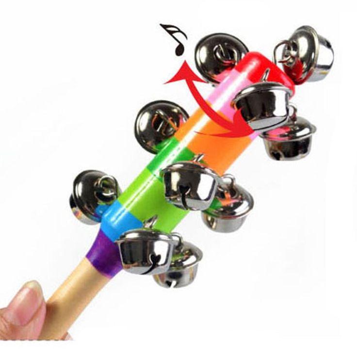 New Hot Baby Rattle Rainbow Toy kid Pram Crib Handle Wooden Activity Bell Stick Shaker Rattle Baby Gift