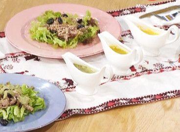 Соус «Айоли» к салату из языка от Евгении Баглык: вареные яичные желтки — 5 шт  чеснок — 3 зубчика  оливковое масло — 1 ст.л.  черный перец  соль  сок лимона — 1 ч.л.