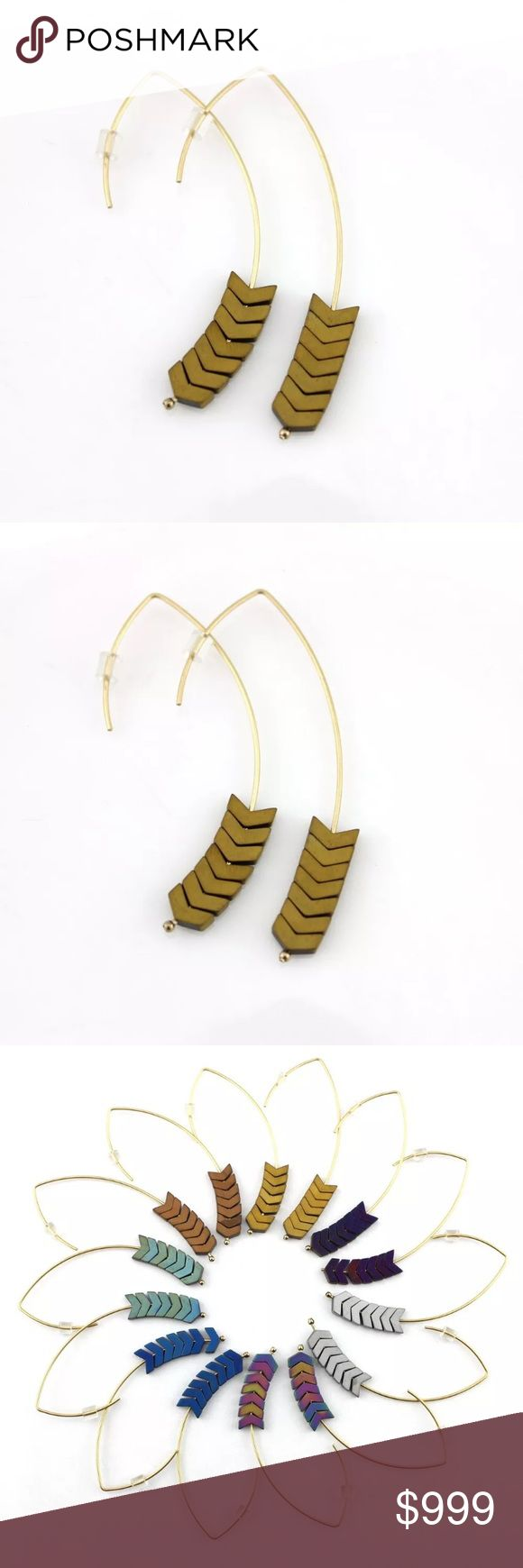 COMING SOON 🎈Chevron Earrings Natural Stone Arrow Women Chevron Drop Earrings Natural Stone Arrow V-Shaped Hoop Earrings Gold Material: Alloy, Natural Stone Weight: about 2.6g  Purchased from manufacturer for resale. Manufacturer does not provide tags, but these are new and never worn. Jewelry Earrings