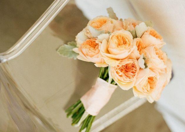 Peach Peony Bouquet Wedding Flower