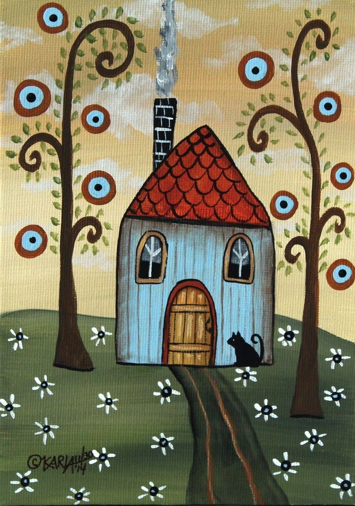 Yellow Door 5x7 inch Canvas Panel ORIG Landscape PAINTING PRIM FOLK ART Karla G, new painting for sale...just added to store.. #FolkArtAbstractPrimitiveLandscape