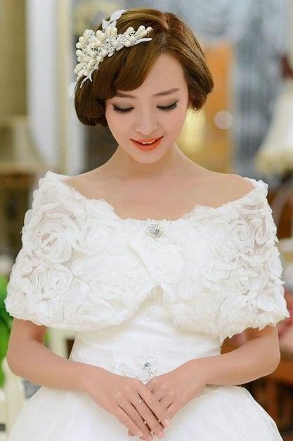 Elegant Beautiful 2015 New White Wedding Winter Shawl
