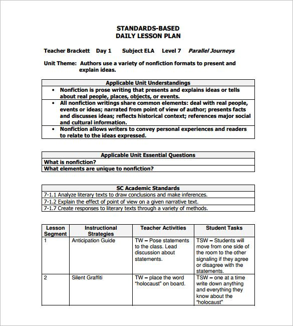 Daily Lesson Plan Template U2013 12+ Free Sample, Example, Format Download! |  Lesson Plan Template Download