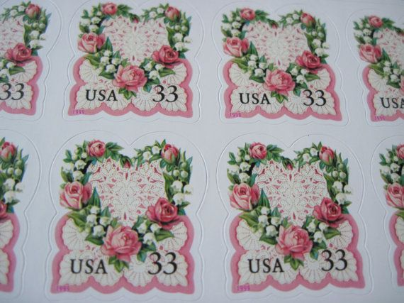 Victorian Roses ... Unused Vintage Postage Stamps ... Set of 50 33 Cent Stamp Postcard Rate