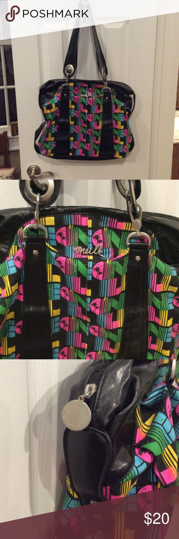 O'Neill tote bag Large black tote with neon palm tree design throughout. Some marks but otherwise good condition.zipper closure heavy duty brushed silver buckles. O'Neill Bags Totes