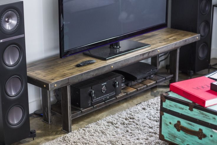 Meuble Tv Design Metal Made-to-order Industrial Chic Television Stand Designed By
