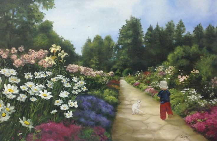 Sajó (©2013 sajosee.com) L'enfant et son chat se promenant sur le chemin.