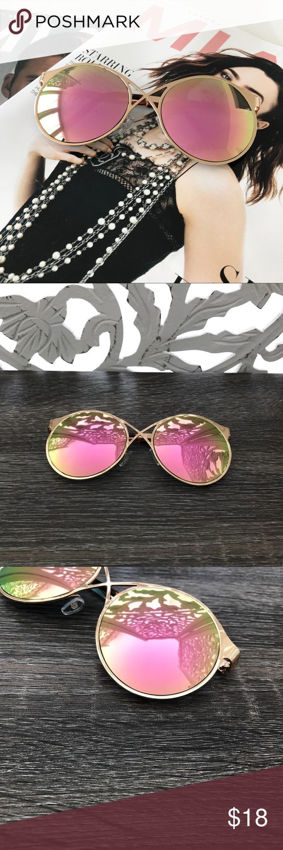 300K SALE▫️PINK MIRROR LENS ROUND SUNGLASSES * Round Lens * Front cross detail  * Pink Mirror Lens * Gold metal frame  * Approximate measurements: Full length 6in; Individual lens 2.5in H x 2.5in W * PRICE FIRM Style Link Miami Accessories Sunglasses