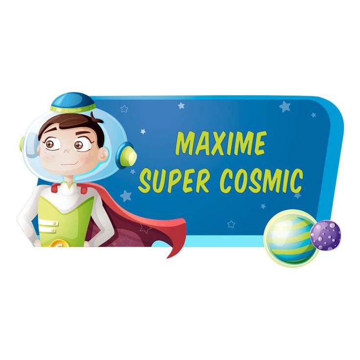 Personnalisez le prénom de votre enfant sur ce sticker espace avec Super Cosmic