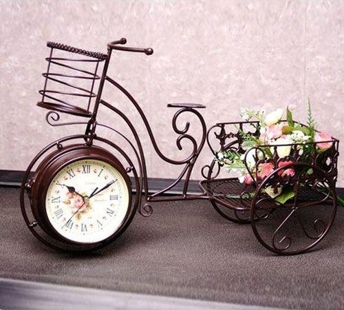 Мода винтаж искусственный велосипед настенные часы деревенский tieyi часы рабочего украшения