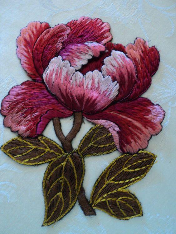 1920s Antique Trapunto Silk Embroidered Floral Appliques Original Flapper Art Deco Pair Rare: