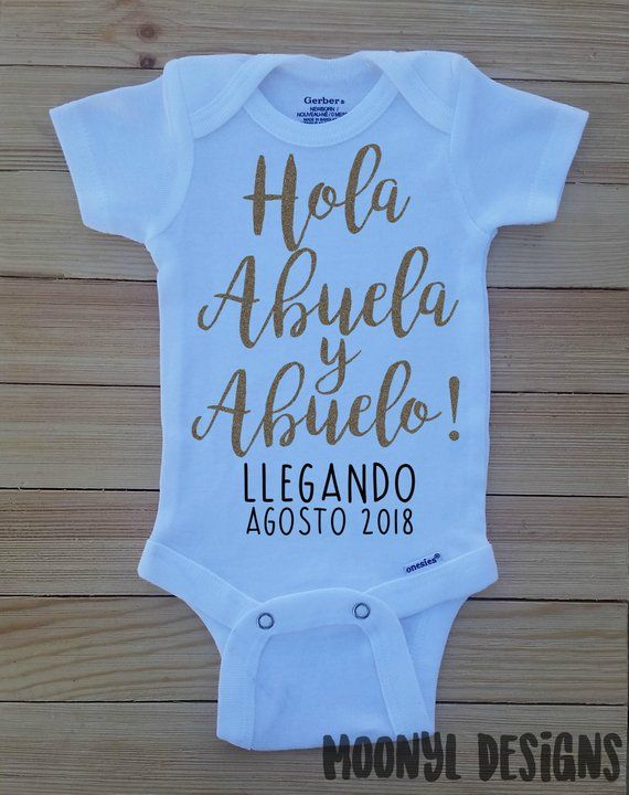 Hola Abuela Spanish Custom Reveal Pregnancy Announcement Baby Onesie Grandma