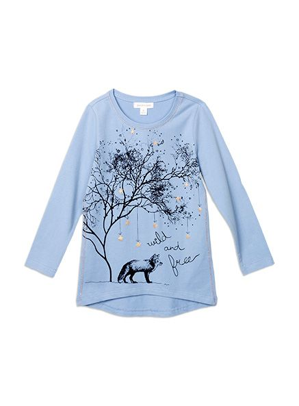 Pumpkin Patch - tops - wild and free tee - W5GL12021 - blue allure - 5 to 12