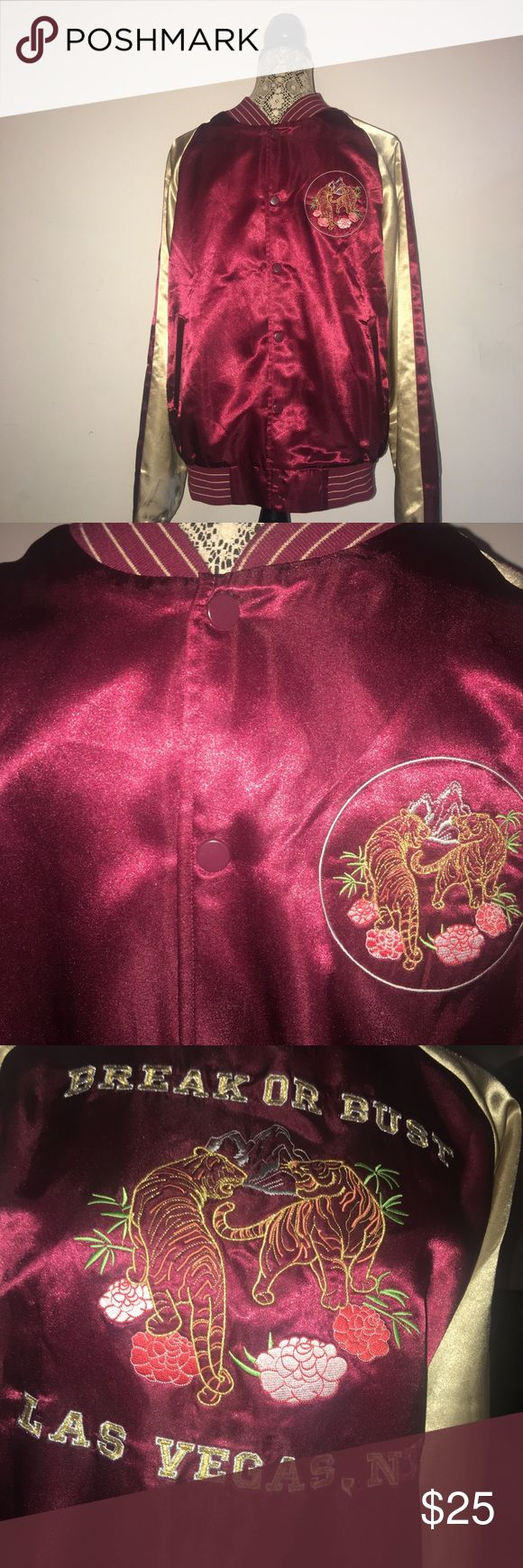 Men's Maroon and Gold Bomber Jacket Men's maroon and gold Bomber Jacket. Slightly worn but in great condition. Only worn about five times. NO STAINS! NO RIPS! Fits to size.   Material - 100% polyester Forever 21 Jackets & Coats Bomber & Varsity