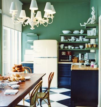 drew barrymore's office kitchen // domino: Wall Colors, Kitchens Design, Open Shelves, Dark Kitchens Cabinets, Green Wall, Small Kitchens, Checkerboard Floor, Green Kitchens, Drew Barrymore