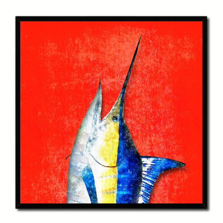 Swordfish Fish Head Art Red Canvas Print Picture Frame Wall Home Decor  Nautical Fishing Gifts