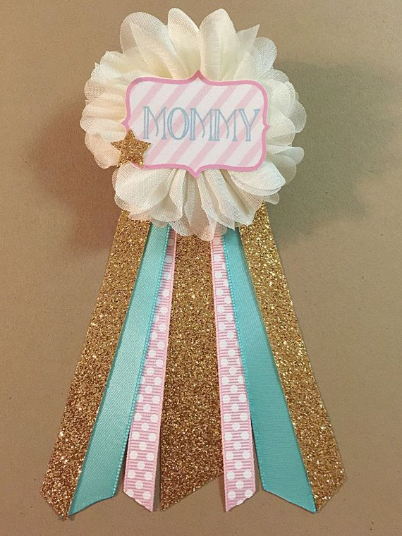 Twinkle Little Star Baby Shower Mommy-to-be Flower Ribbon Pin Corsage Gold Glitter Rhinestone new mommy mama to be