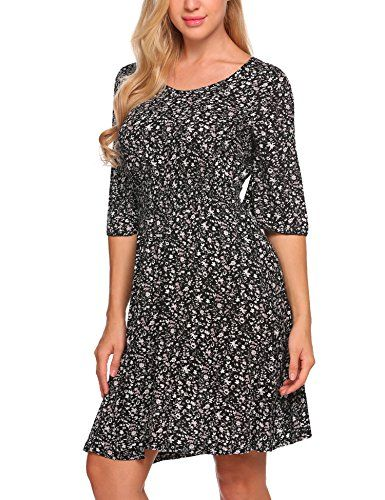 76ae168d08 Maya Brooke Women s 3 4 Sleeve Floral Printed Swing Fit and Flare Mini Dress  Sundresses
