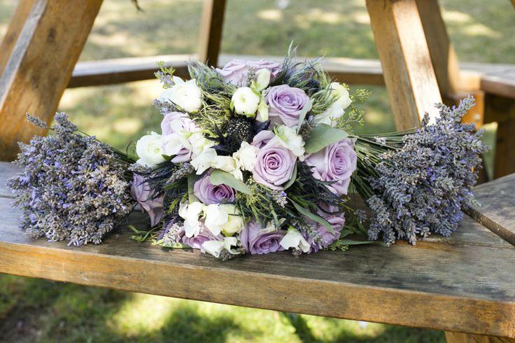 Fresh Lavender bouquet, Lavender Roses, ranuncula, sweet peas, and blue Thistle
