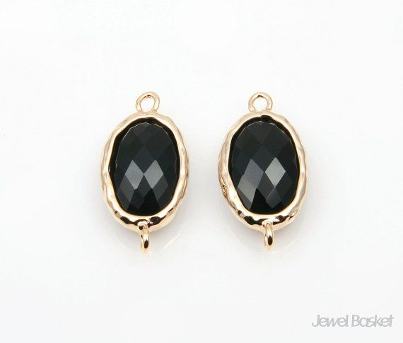 These charming gold frame Black Onyx glass connector will be perfect for necklaces, earrings, bracelets and any handmade jewelry. They are oval-shaped style connectors. Frame is hammered. This listing is for 2 pieces of Black Onyx glass connector. They have a hole for your own designs. They are made of brass, Black Onyx color glass and are plated gold.  - Highly Polished Gold plated Frame (Tarnish Resistant) - Black Onyx Color Glass  - Brass and Glass / 20mm x 10mm - 2pcs / 1pack