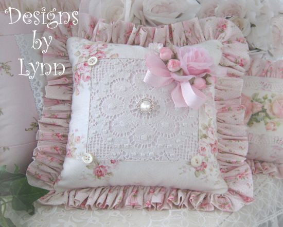 Image detail for -Pink Roses & Lace Ruffled Sachet Pillow Designs By Lynn-pink, roses ...