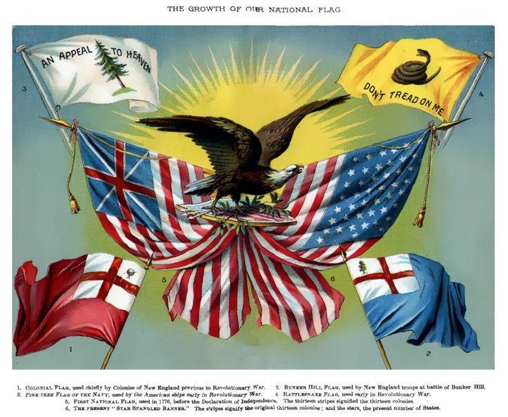 An 1885 illustration shows early American flags, including the Grand Union flag to the left of the eagle