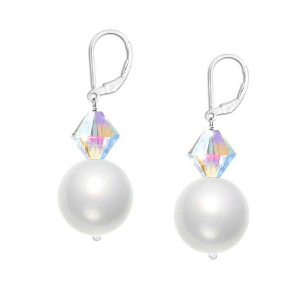Lustrous 6mm crystal white Swarovski pearls and sparkling 4mm faceted clear crystals hang delicately from a sterling silver leverback earring.