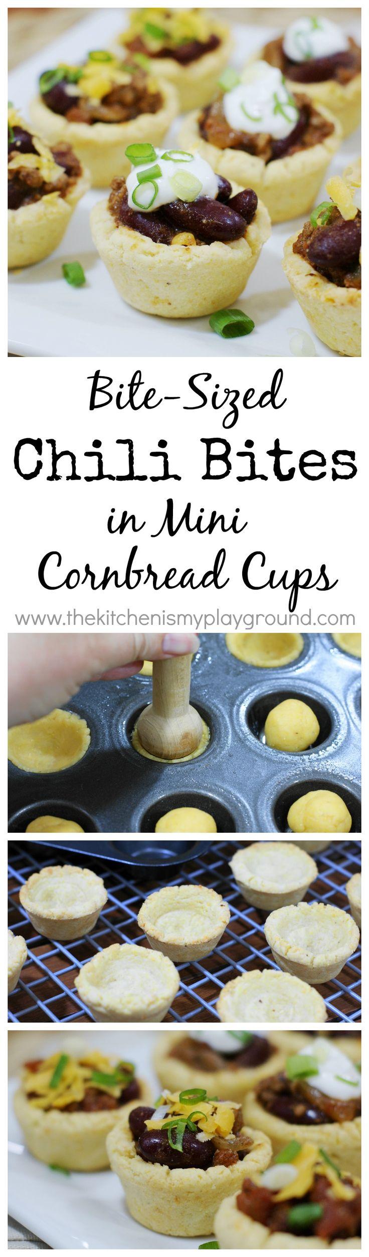 Chili Bites in Mini Cornbread Cups ~ turn chili into finger food with these tasty little chili cups.   www.thekitchenismyplayground.com