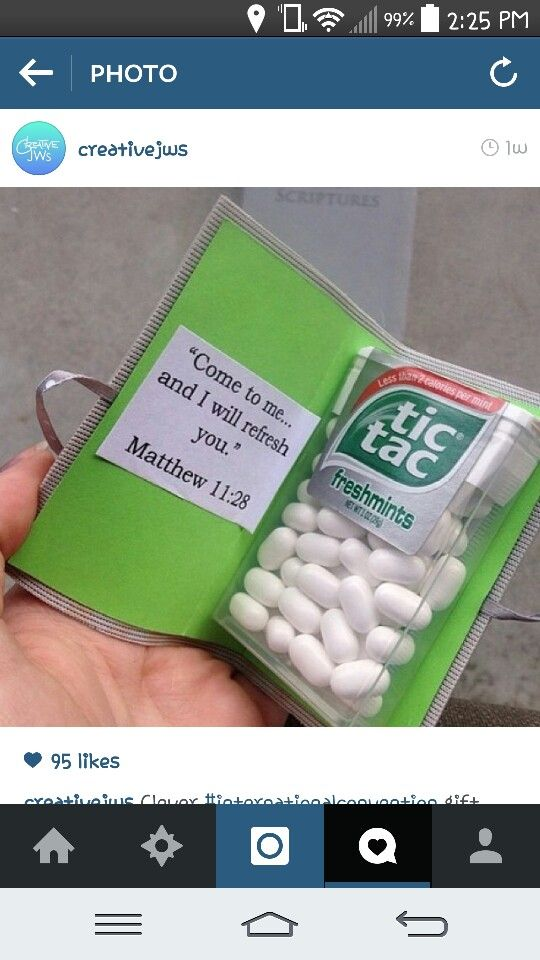 Tic Tac Bible - great idea to make for Pioneer school.