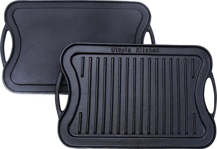 Burner Lodge Cast Iron Grill Griddle Kitchen Reversible cookware Skillet Gas New   eBay