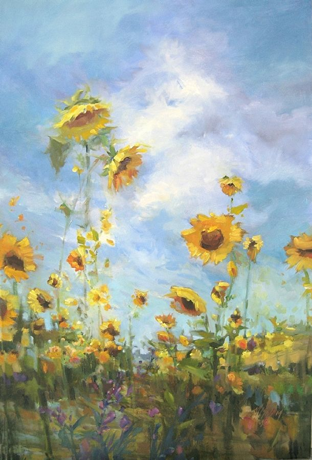 Sunflower Field Ii By Mary Maxam Oil 36 X 24 In 2019 Painting