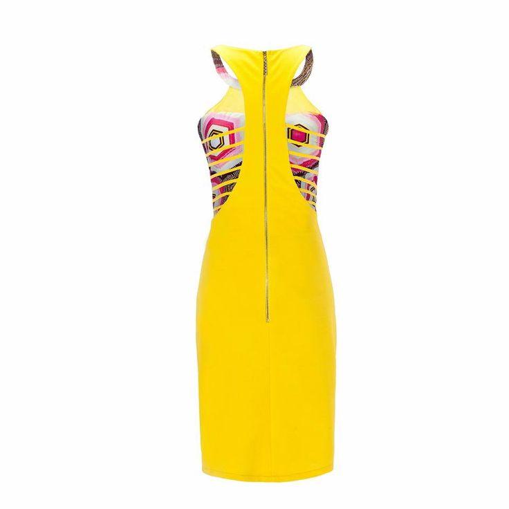 Tochi designer ladies dress classic lady ribbed back royal yellow