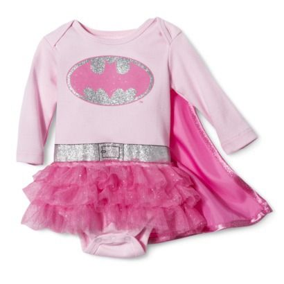 Batman® Newborn Girls' Batgirl Caped Bodysuit Dress - Pink