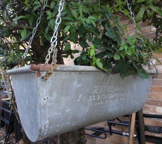 Vintage Hanging Garden Planter Galvanized Metal Organizer Storage Garden Planters Planters