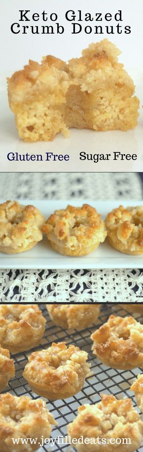 Glazed Crumb Donuts - a moist cakey donut topped with crumbs and covered with a sweet glaze. Low Carb, Sugar-Free, Grain-Free. Gluten-Free, & THM S, Keto.