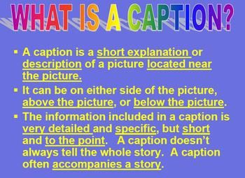 examples caption writing activity